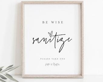Be Wise, Sanitize Sign, Hand Sanitizer Sign, Masks Sign, Social Distance Covid Wedding Sign, Printable, Instant Download, Templett #0009-06S