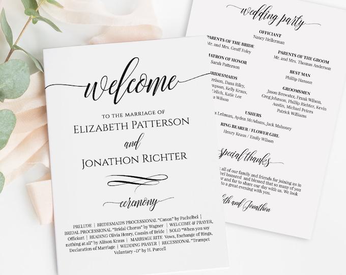 Wedding Fan Program, Printable Fan Program, Order of Service, DIY Program, Fully Editable Template, Instant Download, Templett #020-401WP