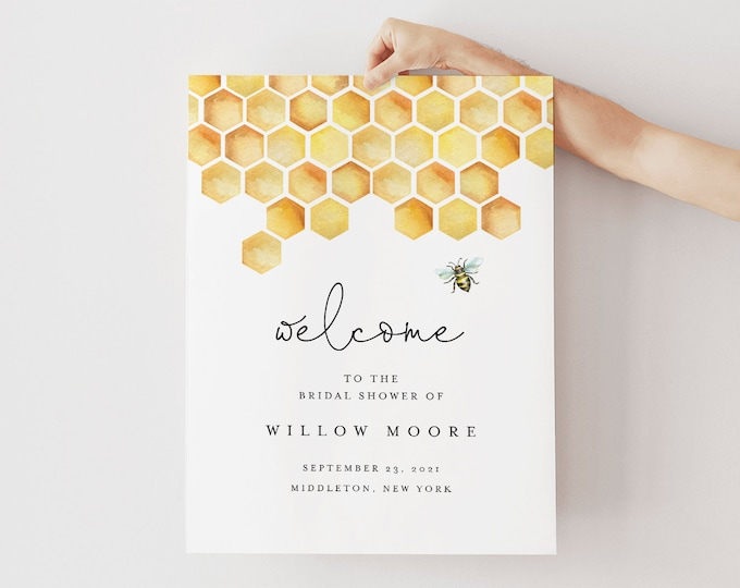 Honey Bee Welcome Sign, Printable Bridal Shower / Baby Shower Poster, Instant Download, Editable Template, Templett #097-219LS
