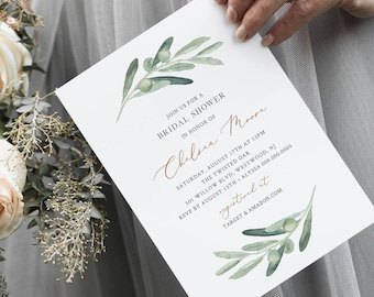 Olive Greenery Bridal Shower Invitation Printable, Watercolor Olive Branch Invite, Editable Template, Instant Download, Templett #081-233BS