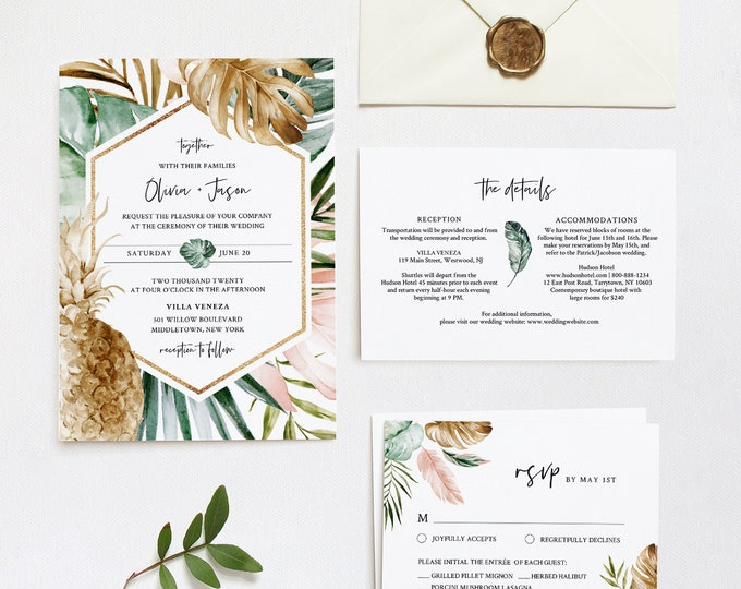 Tropical Wedding Invitation Suite, Destination Beach Wedding Invite, RSVP and Details, Editable Template, INSTANT DOWNLOAD, Templett #087A