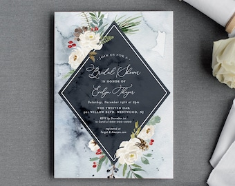 Bridal Shower Invitation Template, Winter Theme, Holly, Evergreen, Pine, Conifer, Editable Text, Printable, INSTANT DOWNLOAD #071-200BS