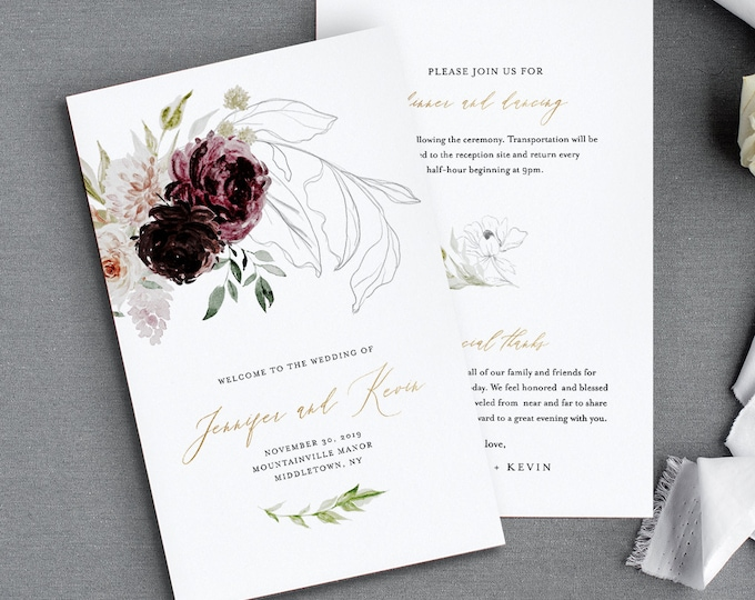 Wedding Program Template, Folded Order of Service, Moody Burgundy & Dusty Blush Florals, INSTANT DOWNLOAD, Editable, Templett #074-128WP