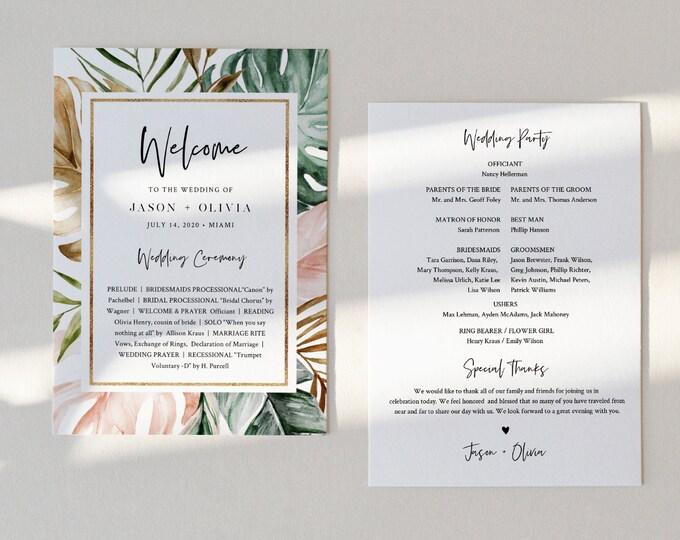 Tropical Wedding Program Template, Order of Service, INSTANT DOWNLOAD, Fan or Flat Program, 100% Editable Text, Templett  #087-422WP