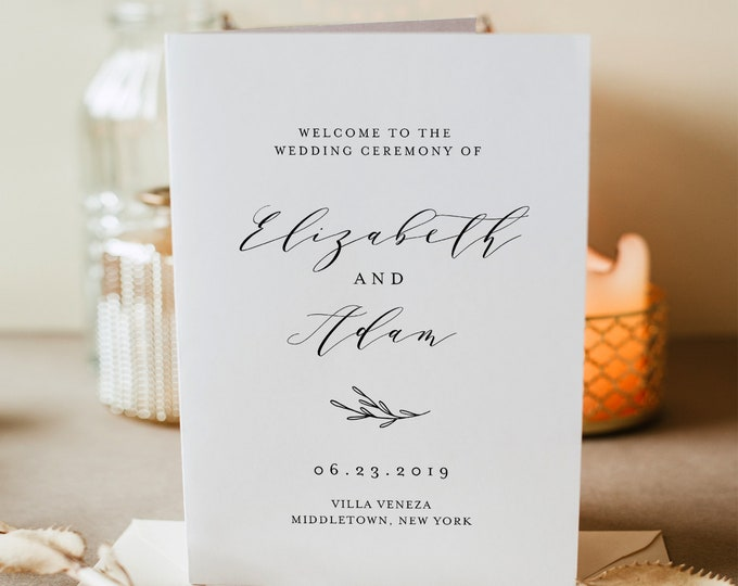 Wedding Program Printable, Folded Booklet, Order of Service Template, INSTANT DOWNLOAD, 100% Editable, Catholic, Templett #037-110WP