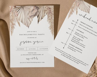 Bohemian Bachelorette Invitation & Itinerary Timeline, Pampas, Dried Foliage, Editable Template, INSTANT DOWNLOAD, Templett #0022-144BP