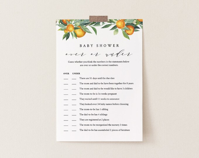 Over or Under Baby Shower Game, Editable Template, Printable Citrus Summer Orange Baby Shower, Instant Download, Templett #084-140BASG