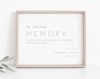 In Loving Memory Sign, INSTANT DOWNLOAD, Editable Text, Printable Wedding Decor, Modern, Minimalist Wedding Memorial Sign, DiY #094-02S