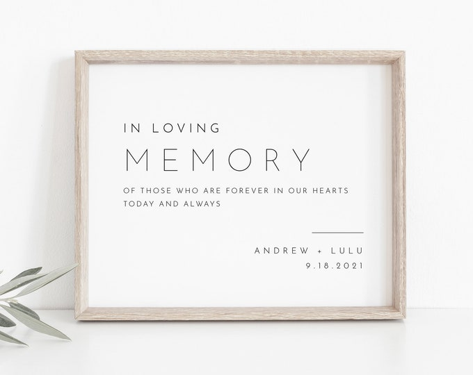 In Loving Memory Sign, INSTANT DOWNLOAD, Editable Text, Printable Wedding Decor, Modern, Minimalist Wedding Memorial Sign, DiY #094-02S