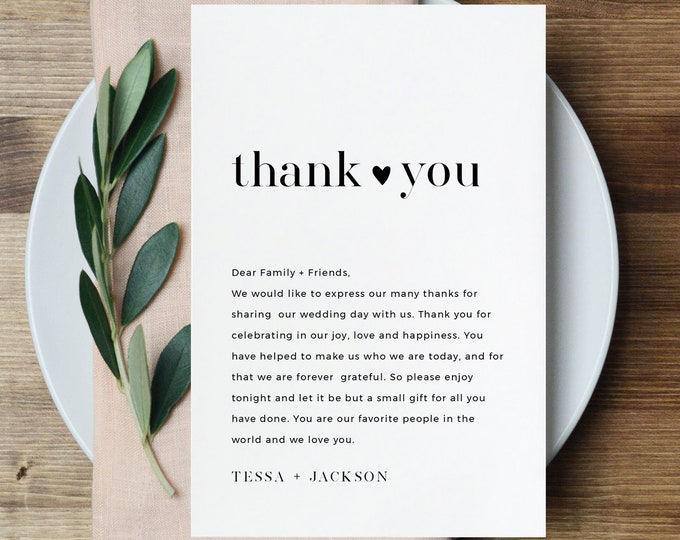 Thank You Letter, Napkin Note, Printable Minimalist Wedding Menu Thank You, Editable Template, INSTANT DOWNLOAD, Templett, 4x6 #088-130TYN