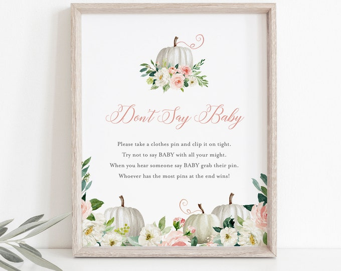 Don't Say Baby Clothespin Game, Fall Pumpkin Baby Shower Sign, Editable Template, Printable, Instant Download, Templett  #072B-238BASG