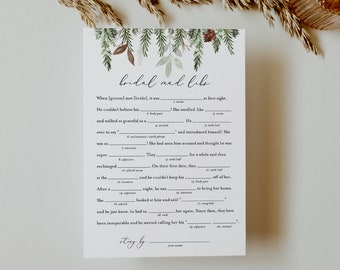 Mad Libs Bridal Shower Game Template, Printable Winter Pine Bridal Shower Funny Game, Editable Text, Instant Download, Templett #0017-339BG
