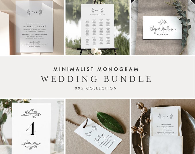 Monogram Wedding Bundle, Wedding Essential Templates, Minimalist Invitation Suite, 100% Editable, Instant Download, Templett  #095B-BUNDLE