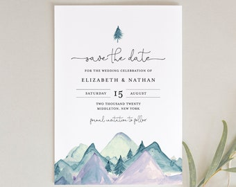 Woodland Save the Date Magnet Rustic Kraft Nature Outdoor Mountain Trees Greenery Recycled Paper Eco Friendly Green Forest Wedding Card