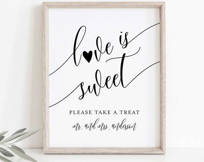 Love Is Sweet Sign, Wedding Favors Sign Template, Take A Treat, Printable Favors Card, Instant Download, Templett, 8x10 #008-14S