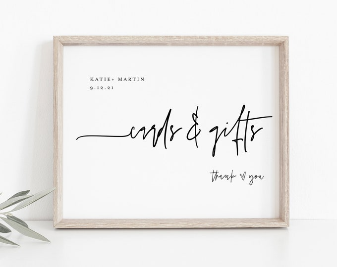Minimalist Cards and Gifts Sign, Printable Wedding Gift, Editable Template, Modern Tabletop Sign, Instant Download, Templett 8x10 #0009-22S