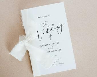 Minimalist Wedding Program Template, Modern Order of Service, Catholic Ceremony, INSTANT DOWNLOAD, 100% Editable, Templett, DIY #045-145WP