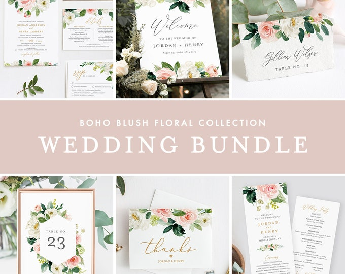 Wedding Bundle, Boho Blush Floral & Greenery Invitation Suite, Editable Templates, DIY, Instant Download, Templett #043-BUNDLE