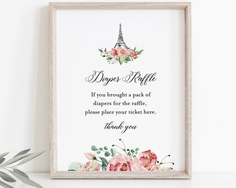 Paris Diaper Raffle Printable, French Baby Shower Diaper Raffle Insert and Sign, Eiffel, Editable Template, INSTANT DOWNLOAD #001-242BASG