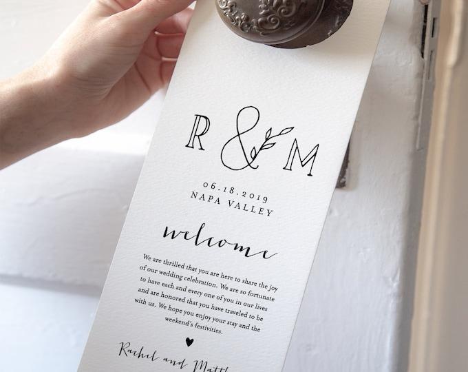 Door Hanger Template, Wedding Welcome Letter / Note, Printable Do Not Disturb Door Tag, 100% Editable, Instant Download, Templett 042-102DH