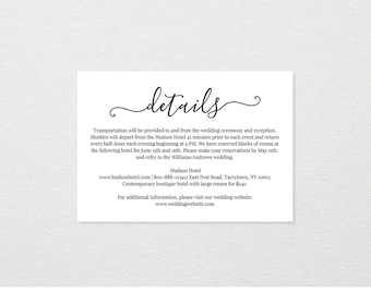 Wedding Details Card Template, Printable Accommodations Card, Wedding Info Card, Instant Download, Fully Editable, Modern Calligraphy #030A