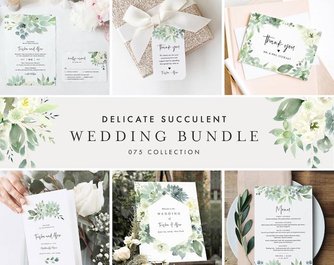 Delicate Succulent Wedding Bundle, Wedding Essential Templates, Invitation Suite, Editable Text, Instant Download, Templett #075-BUNDLE