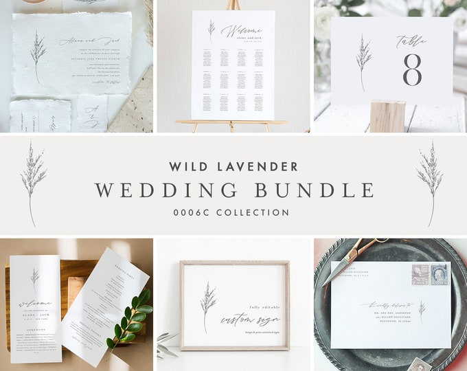Lavender Wedding Bundle, Wildflower Invitation Suite + Wedding Essentials, Minimalist, 100% Editable Templates, Templett #0006C-BUNDLE