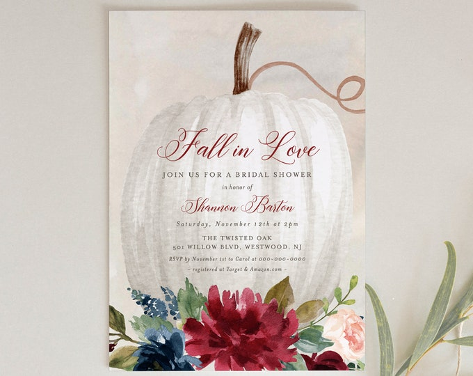 Editable Fall Bridal Shower Invitation Template, Printable Boho Pumpkin Wedding Shower Invite, Fall in Love, INSTANT DOWNLOAD #072-198BS