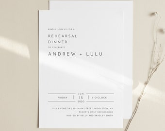 Minimalist Rehearsal Dinner Invitation Template, Modern Simple Rehearsal Invite, 100% Editable, Instant Download, Templett, DIY #094-149RD
