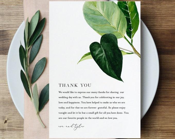 Minimalist Thank You Letter, Napkin Note, Printable Wedding Menu Thank You, Editable Template, INSTANT DOWNLOAD, Templett, 4x6 #0012-146TYN