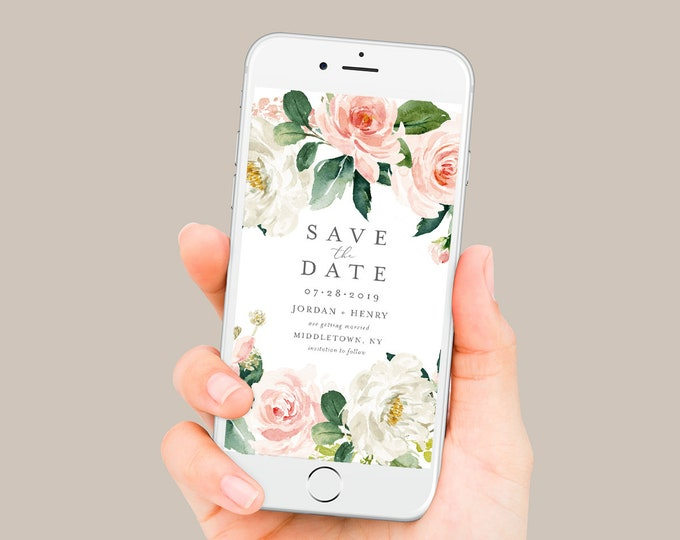 Vintage Floral Save the Date, Electronic Invitation, Evite, Digital, Text Invite, INSTANT DOWNLOAD, 100% Editable Text, Templett #043-111SDD