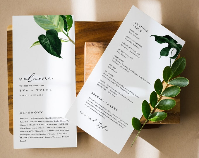 Minimalist Tropical Wedding Program Template, Printable Order of Service, Elegant, Modern, Instant Download, Editable, Templett #0012-247WP