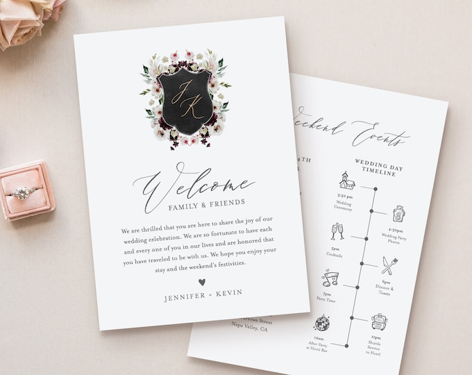 Wedding Welcome Letter Template, Welcome Bag Note, Order of Events, Itinerary Timeline, INSTANT DOWNLOAD, 100% Editable Text #074-127WB