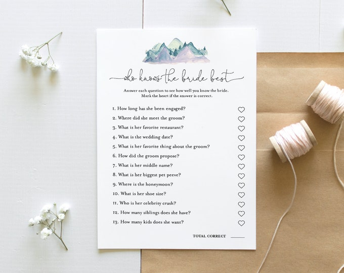 Who Knows the Bride Best Bridal Shower Game, Printable Rustic Mountain Bridal Shower Game, Editable Template, Instant Download #063-264BG