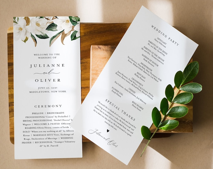 Magnolia Wedding Program Template, Burgundy Printable Order of Service, Southern, Instant Download, 100% Editable Text, Templett #015-245WP