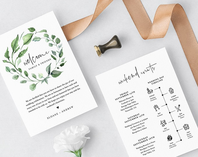 Welcome Letter & Timeline Template, Greenery Wedding Bag Itinerary, Agenda, Order of Events, INSTANT DOWNLOAD, 100% Editable Text #059-116WB
