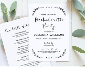 Bachelorette Party Invitation Template, Printable Rustic Bachelorette Invite & Itinerary, Instant Download, Fully Editable, DIY  #031-103BP