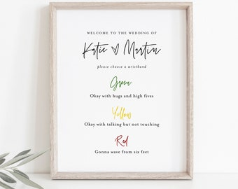 Color Coded Wristband Sign, Social Distance Wedding Wristband, Covid Wedding, Editable Template, Instant Download, Templett, 8x10 #0009-16S