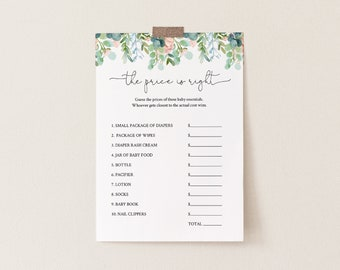 The Price Is Right Baby Shower Game Template, Lush Garden Greenery Printable, 100% Editable Text, Instant Download, Templett #068A-155BASG