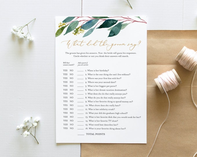 INSTANT DOWNLOAD, What Did the Groom Say Bridal Shower Game, Printable Wedding Game, Editable Template, Personalize Questions #044-117BG