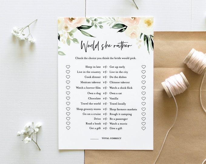 Would She Rather Bridal Shower Game, Instant Download, Edit Questions, EditableTemplate, Printable Wedding Shower, Templett #076-181BG