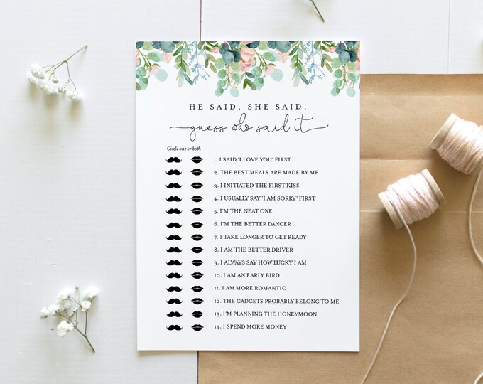 He Said She Said Bridal Shower Game, Guess Who Said It, Lush Garden Bridal Game, Editable Template, Instant Download, Templett #068A-295BG