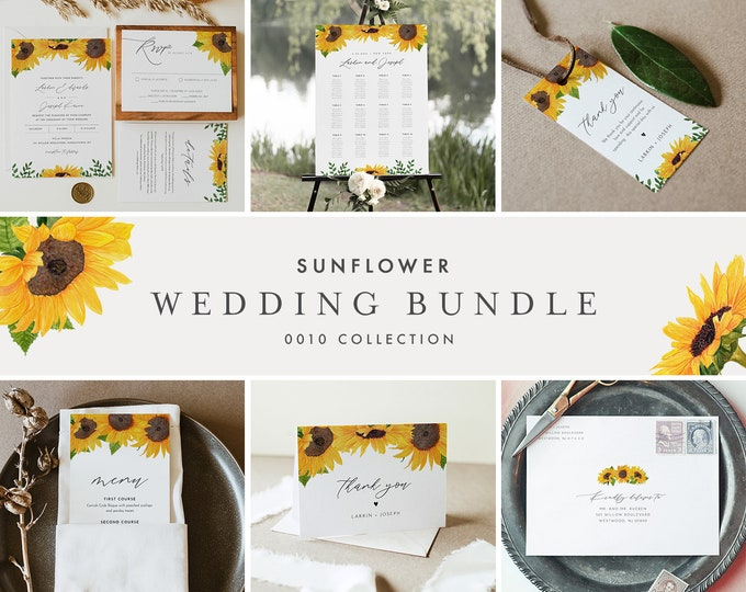 Sunflower Wedding Bundle, Fall Wedding Invitation Suite + Day Of Essentials, Editable Templates, Instant Download, Templett #0010-BUNDLE