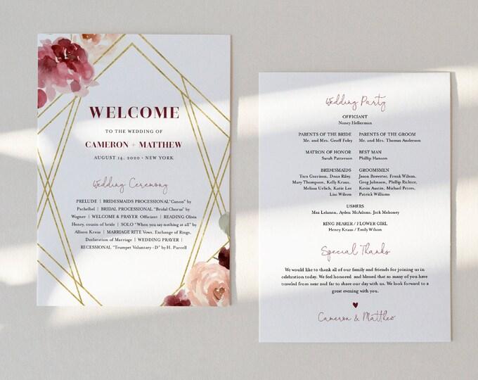 Fan Wedding Program, Printable Order of Service Template, Burgundy Floral & Gold, Editable, INSTANT DOWNLOAD, Fan or Flat Program #065-422WP