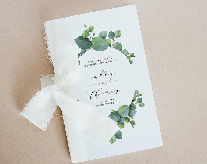 Folded Wedding Program Template, Printable Order of Service, INSTANT DOWNLOAD, 100% Editable, Eucalyptus Program Booklet, Templett 036-117WP