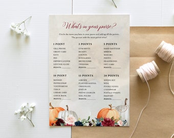 What's In Your Purse Bridal Shower, Fall Pumpkin Bridal Shower Game, Editable Template, Instant Download, Templett, 5x7 #072A-333BG
