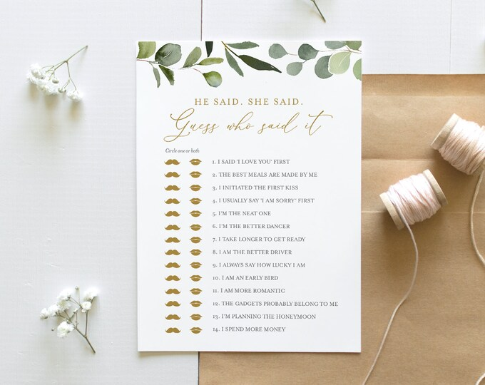 He Said She Said Bridal Shower Game, Guess Who Said It, Greenery Bridal Shower Game, Editable Template, Instant Download, Templett 056-216BG