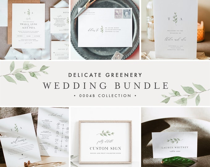 Delicate Greenery Wedding Bundle, Wedding Essential Template, Monogram Invitation Suite, Editable, Instant Download, Templett #0004B-BUNDLE