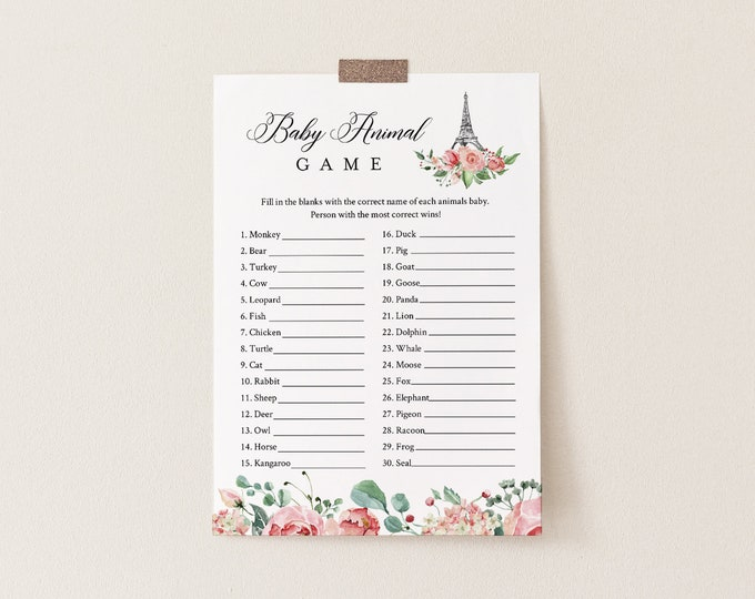 Paris Baby Animal Game, Printable Baby Shower Game, Eiffel Tower, Editable Template, Instant Download, Templett  #001-248BASG