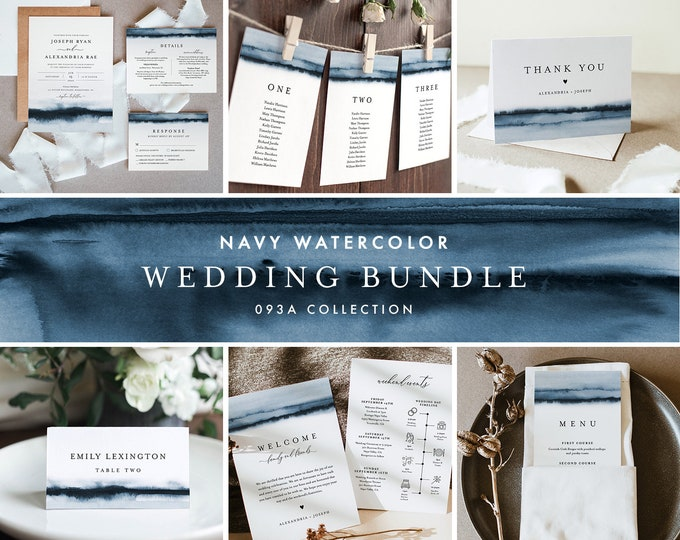 Navy Wedding Bundle, Watercolor Wedding Essential Templates, Invitation Suite, 100% Editable Text, Instant Download, Templett #093A-BUNDLE